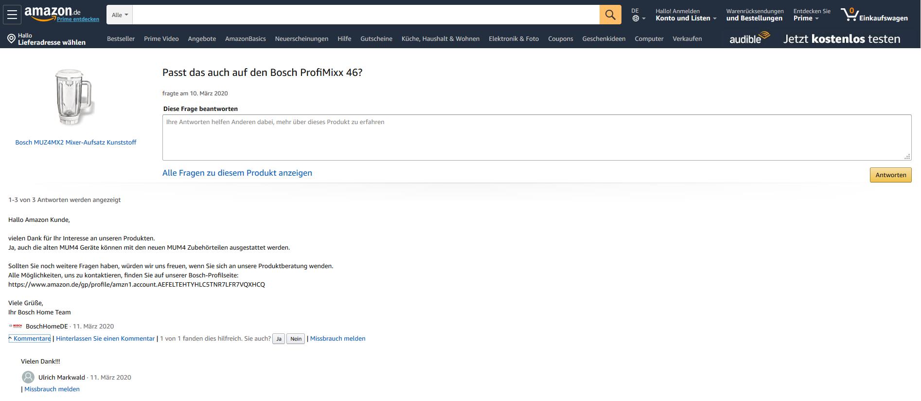 Amazon Hersteller Antworten
